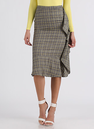 I've Got A Plaid Feeling Ruffled Skirt