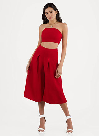 Flare Game Cropped Top And Pant Set