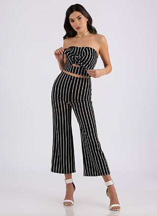 Pretty In Pinstripes Top And Pant Set