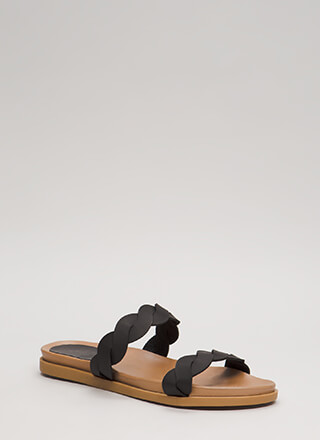 Slides With A Twist Platform Sandals