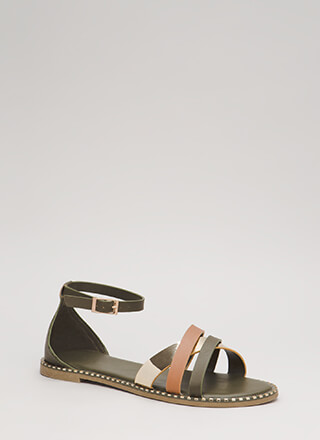 Tri Your Luck Metallic Trim Sandals