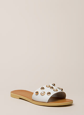 Lucky Lady Studded Faux Pearl Sandals