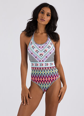 Tribal Counsel Cut-Out Print Swimsuit