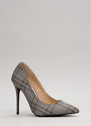 Want Your Plaid Romance Pointy Pumps