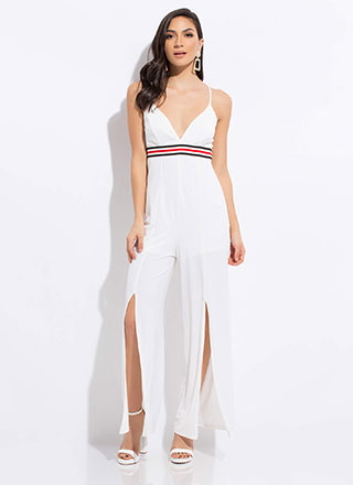 Stripe One Slit Wide-Leg Jumpsuit