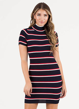 On The Line Striped Open-Back Dress
