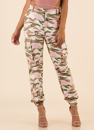 Cool In Camo High-Waisted Cargo Joggers