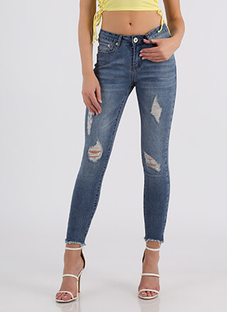 Worn Out Distressed Denim Skinny Jeans