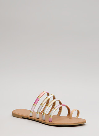 New Threads Strappy Faux Leather Sandals