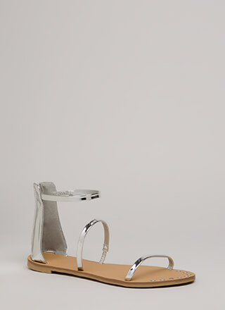 3 Straps You're Out Metallic Sandals