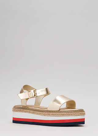 Elevate Me Metallic Platform Sandals