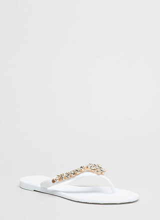 Blossoming Jeweled Matte Jelly Sandals