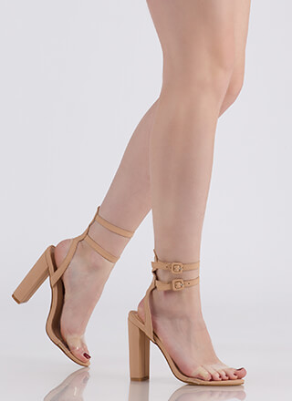 Double Or Nothing Strappy Chunky Heels