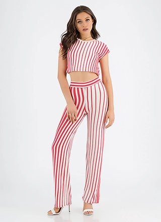 Line Of Vision Striped Top And Pant Set
