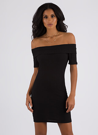 Simple As That Ribbed Off-Shoulder Dress