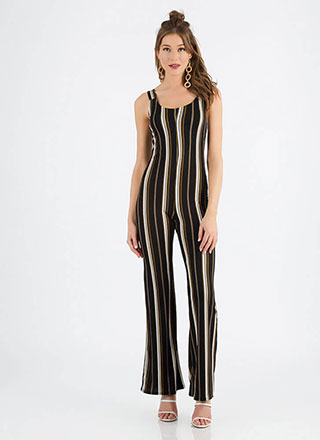 Look Me Up And Down Striped Jumpsuit