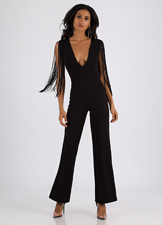 Fringe With Benefits Plunging Jumpsuit