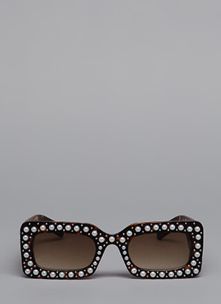 Celebrity Studded Faux Pearl Sunglasses