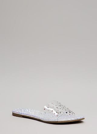 Clearly Fun Jeweled Iridescent Sandals