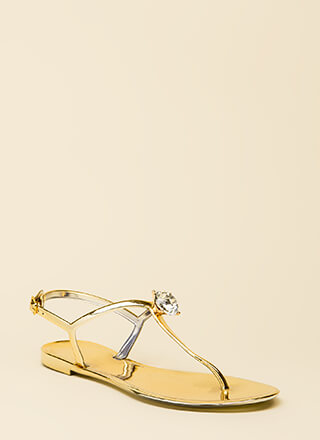 Jewel Time Matte Jelly T-Strap Sandals