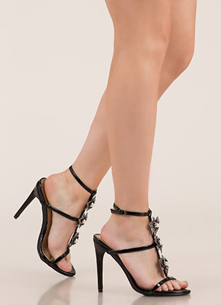 Flowers And Jewelry Strappy Caged Heels