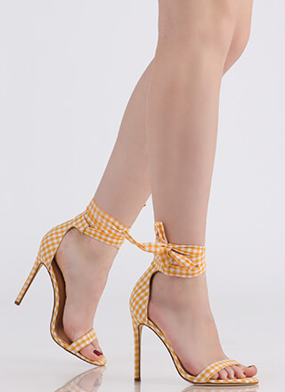 Country Star Lace-Up Gingham Heels