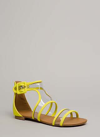 Clearly Cool Cut-Out Trimmed Sandals