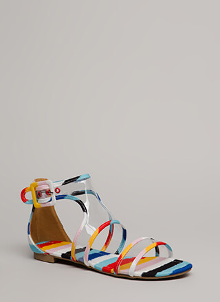 Clearly Cool Cut-Out Striped Sandals