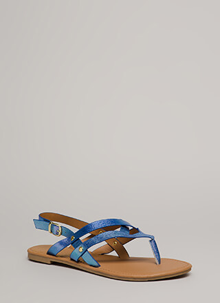 Glow Up Strappy Iridescent Sandals
