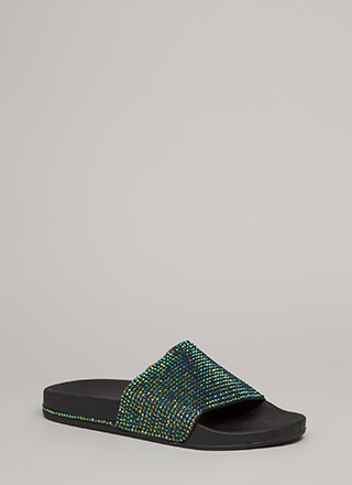Bling It On Jeweled Trim Slide Sandals