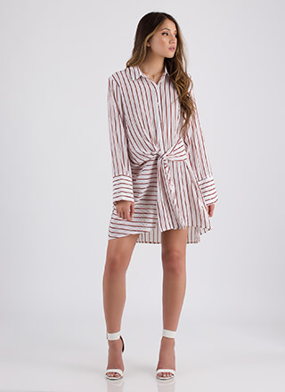 Knot Borrowed Striped Shirt Dress