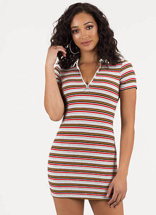 Skate By Striped Collared Zip-Up Dress