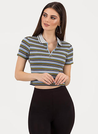 Skate By Striped Collared Zip-Up Top