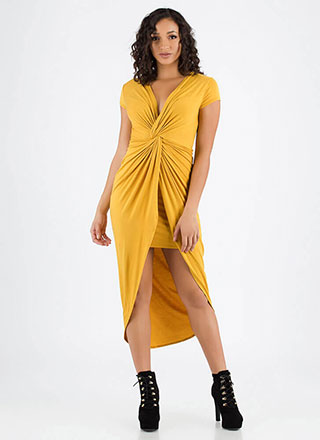 Twist To The Plot Knotted High-Low Dress