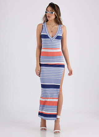 Beach Date Striped Slit Maxi Dress