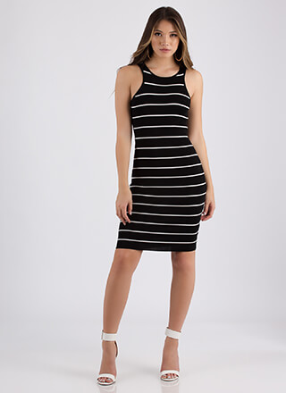 Line Designs Striped Midi Dress