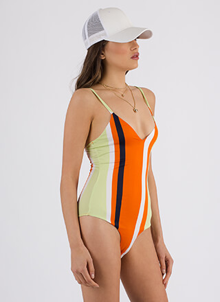 Drop Me A Line Striped Bodysuit