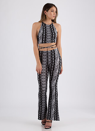 Ikat In The Act Crop Top And Pant Set