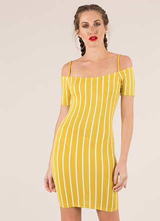 Line 'Em Up Striped Cold-Shoulder Dress