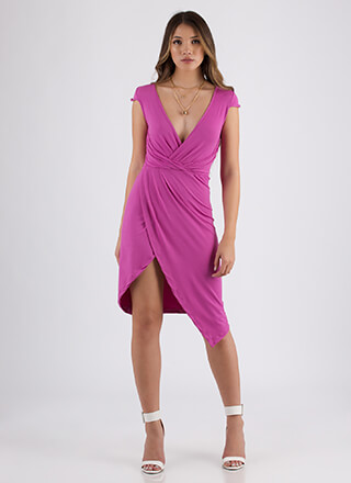 Wrap Song Asymmetrical Midi Dress