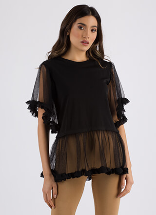 Sheer Chicness Ruffled Mesh Top