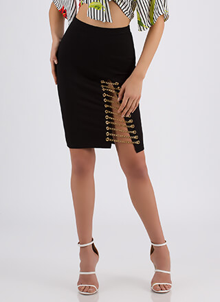 Link Up Chained Slit Pencil Skirt