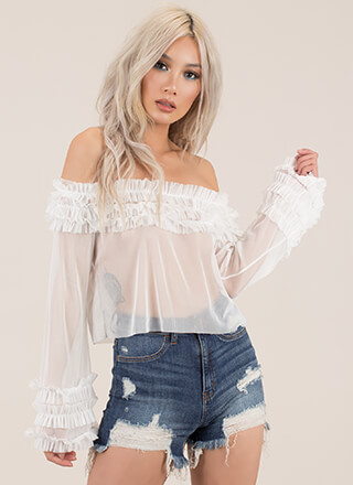 Frill Seekers Ruffled Sheer Mesh Top