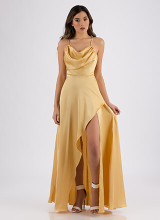 Guest Of Honor Draped Satin Gown