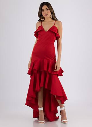 Dancing Queen Ruffled High-Low Dress