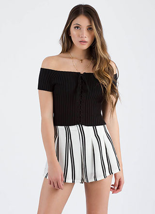 Watch Out Off-Shoulder Lace-Up Top