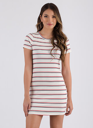 Cute And Casual Striped Minidress