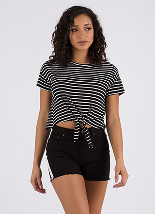 It's Knot Hard Tied Striped Crop Top