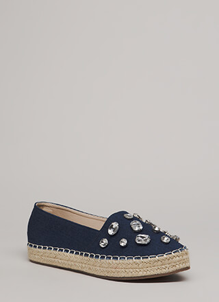 Jewel Quest Jute Trim Moccasin Flats