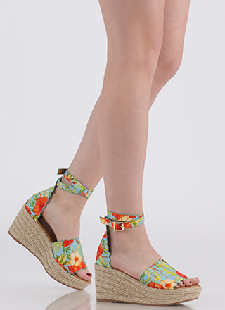 Going Tropical Floral Espadrille Wedges